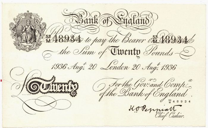 Great Britain - 20 pounds 1936 - Operation Bernhard forgery