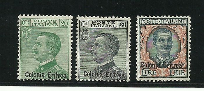 "Italian Eritrea 1925 - Overprinted ""Colonia Eritrea"" 3 values - Sassone NN. 93/95"