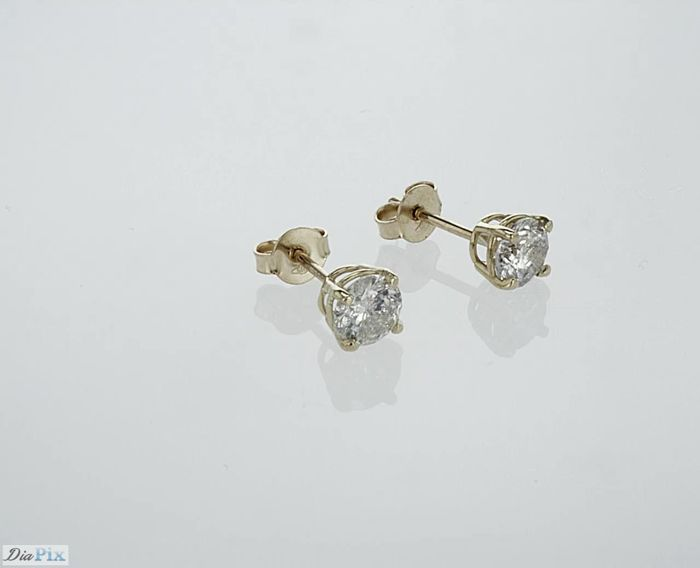 14 kt. Gold - Earrings - 1.23 ct Diamond - Diamond