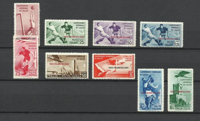 Italian Aegean Islands - general issues 1934 - Football championships, regular mail + airmail, 9 values - Sassone NN. 75/79+ A34/A37