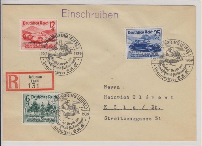 Tyske Kejserrige 1939 - Michel 695-697 on registered letter with special cancellation
