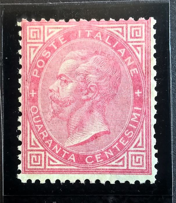 Italy Kingdom 1863/1865 - 40 cents carmine red, new with gum, perfect - Sassone T20
