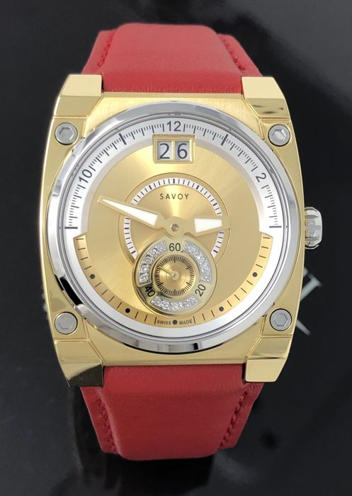 """Savoy - 15 Diamonds Icon Petite Red Leather strap Swiss Made """"NO RESERVE PRICE"""" - C3303.12A.L4 - Dames - NEW"""