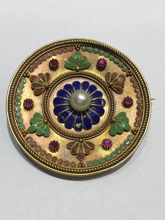 18 kt. Yellow gold - Brooch - Ruby