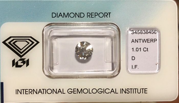 1 pcs Diamond - 1.01 ct - Briliant - D (fără culoare) - IF (perfect)