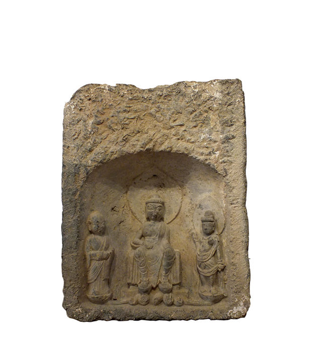 Beelden - Steen - Boeddha - An very rare Chinese Stele with Seated Buddha, Signed and Dated - China - Tang Dynasty (618-907)