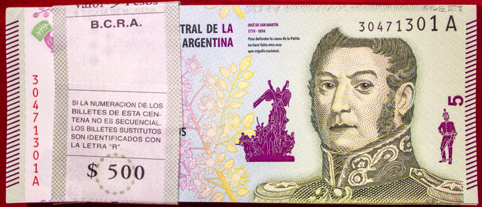 Argentina - 100 x 5 Pesos ND (2015) - Pick 359 - Original Bundle
