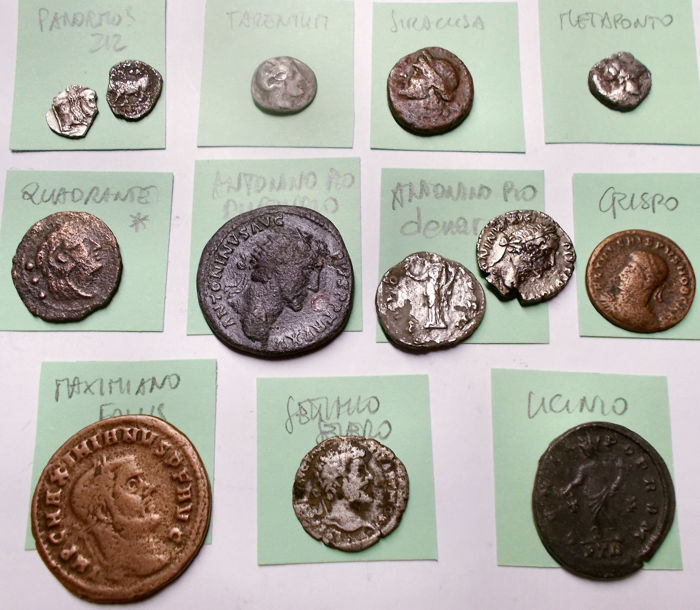 Antiquity - Lot of 13 Æ / AR coins, various periods and denominations