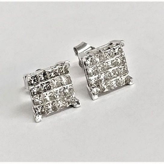 14 quilates Oro blanco - Pendientes - 1.41 ct Diamante