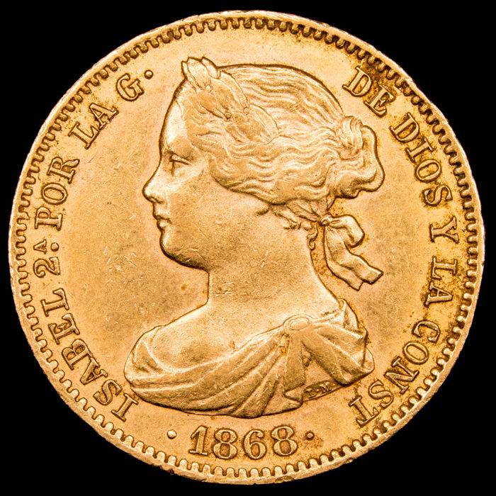 Spain - 10 escudos - - Isabel II (1833-1868), 1868 * 68 - Madrid. - Gold