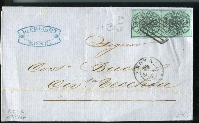Pontifical State 1864 - 1 baj dark green pair on letter with pair on letter for city - for sale