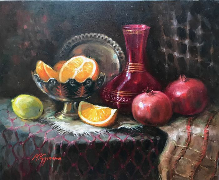 Maria Kuzmenko - Still life with fruits and copper dishes