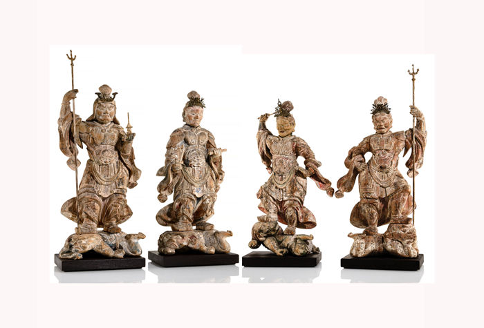 Sculptures (4) - Bois - An Important and Very Rare Japanese Group Shitenno - Four Heavenly King - ca. 1650 A - Japon - Début de la période Edo