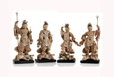 Sculptures (4) - 木 - An Important and Very Rare Japanese Group Shitenno - Four Heavenly King - ca. 1650 A - 日本 - Early Edo period