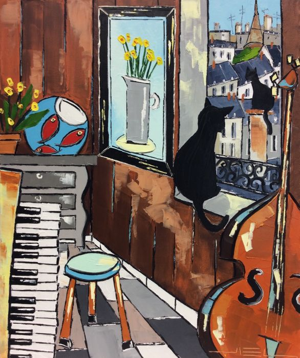 JIEL - OLD PIANO AND CELLO WITH PARISIAN FRIENDS CATS