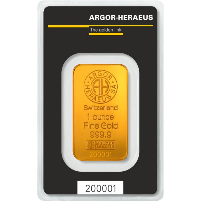 1 troy ounce (31.1 g) - Gold .999 - Heraeus - Seal