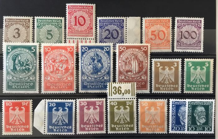 Impero tedesco 1923/1924 - German emergency aid 1924 and various Weimar Republic issues - Michel ex 338 - 369
