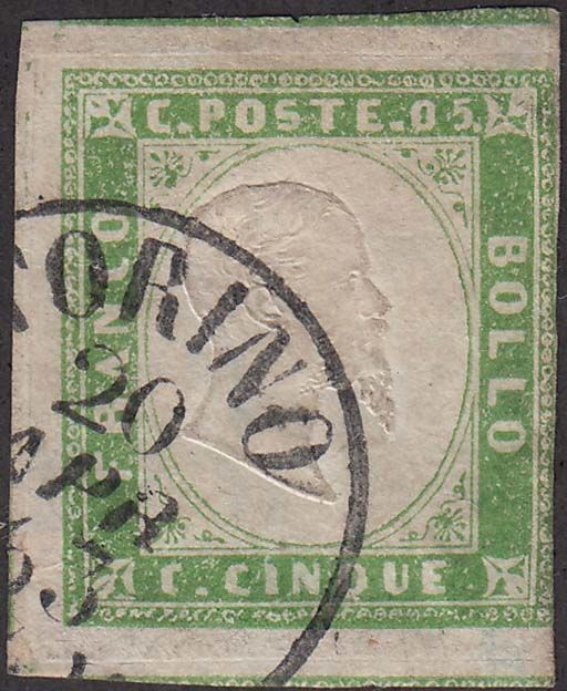 Sardinia 1855 - 5 cents pale yellow green I composition - Sassone N. 13