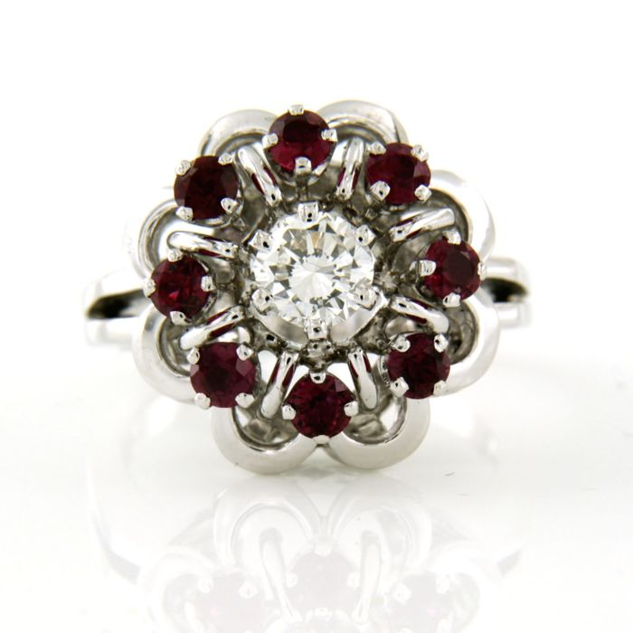 18 kt. White gold - Ring - 0.51 ct Diamond - Ruby