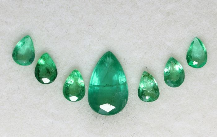 7 pcs  Esmeralda - 1.65 ct