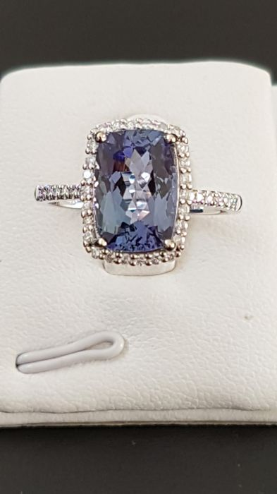 14 kt. White gold - Ring - 3.23 ct Tanzanite - Diamond