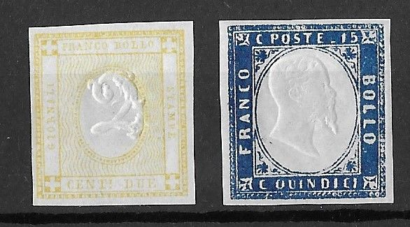 Italy Kingdom 1862/63 - 2 cents yellow and 15 cents light blue - Sassone NN. 10c-11