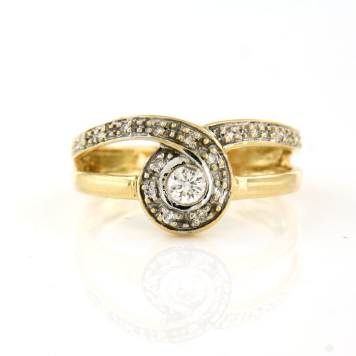 18 karaat Geel goud, Witgoud - Ring - 0.30 ct Diamant