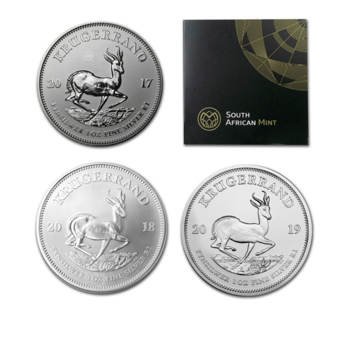 South Africa - Krugerrand 2017 + 2018 + 2019- 3 x 1 Oz - Silver