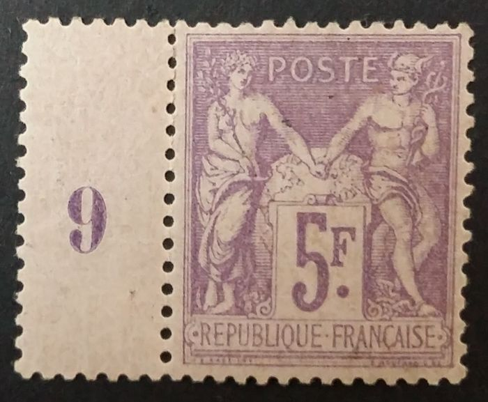 France 1877 - Sage type II, 5 fr purple on lilac