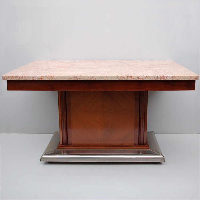 Art Deco Dining room table with rose marble top (1) - Catawiki