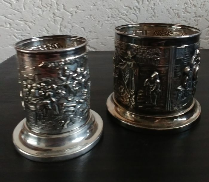 Set of silver plated DE tins.