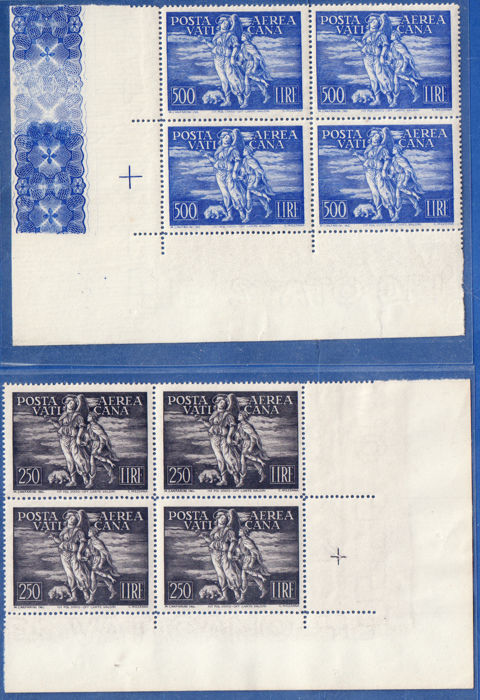 Vatican City 1948 - Tobiah 2v airmail in block of four - Sassone N. S.502
