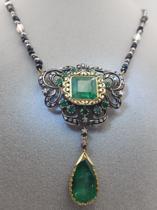 16 quilates Silver - Necklace - 17.41 ct Natural beryl - Diamond, Emerald