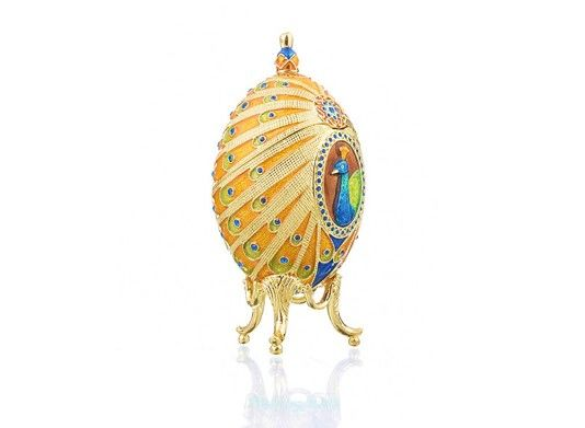 Faberge feather trinket box hand made by Keren Kopal with Austrian crystals