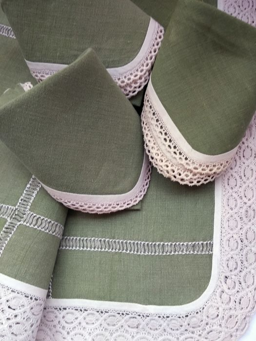 Linen linen with hand embroidery, napkins - Pure linen