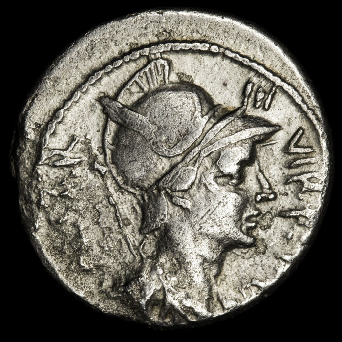 Roman Republic - AR Denarius, Octavian in the Philippi battle. Military mint moving with Octavian in Greece, summer 42 B.C. - Silver