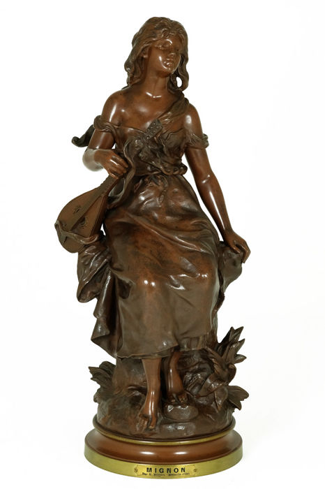Hippolyte Francois Moreau (1832-1927) - Sculpture of Lady with mandolin titled 'Mignon'