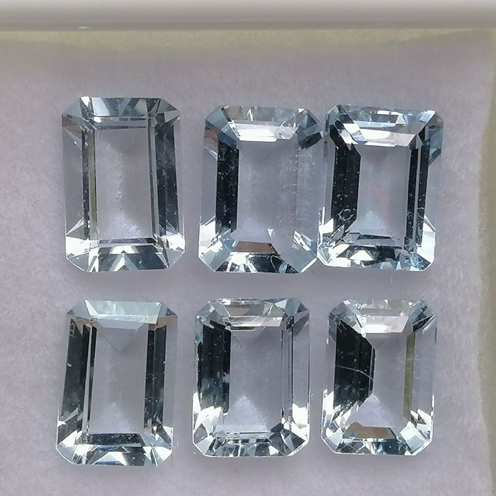 6 pcs  Aquamarine - 5.12 ct
