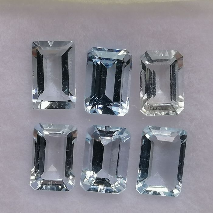 6 pcs  Akwamaryn - 3.21 ct