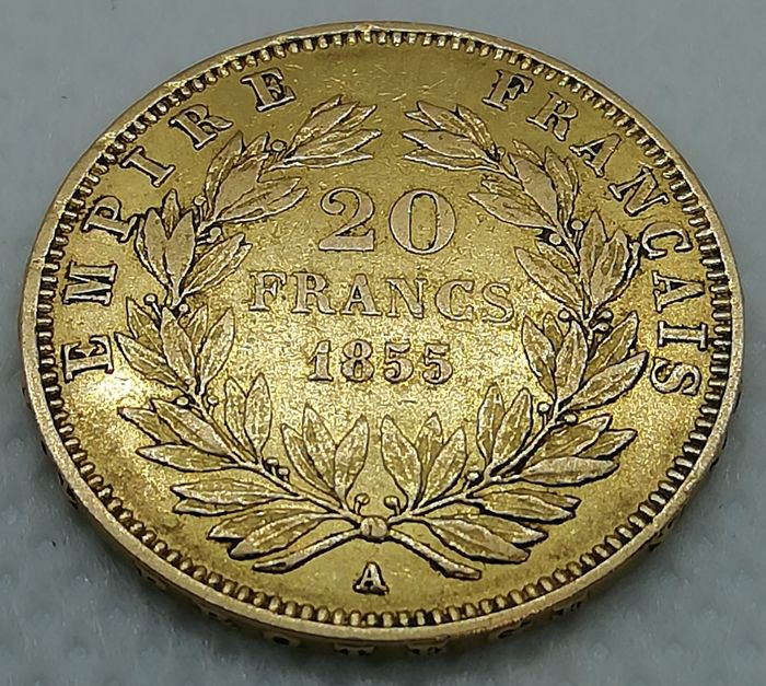20 Francs 1855-A Napoleon III - Or