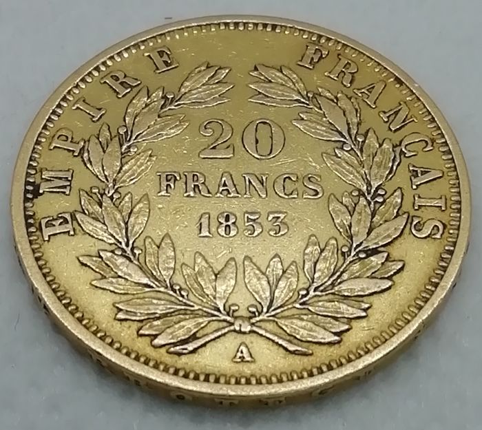 20 Francs 1853-A Napoleon III - Or