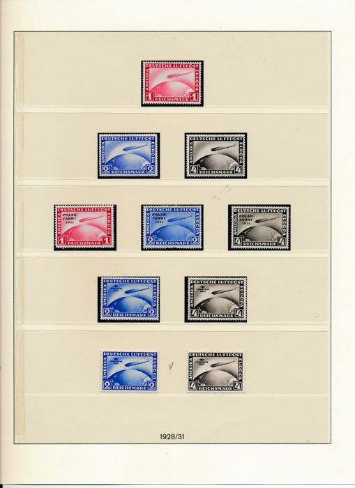 Impero tedesco 1923/1932 - Weimar Republic, complete collection of all zeppelins, block 1, and official / postage due stamps - Michel Nr. 336 - 478 & Dienst Nr. 99 - 131
