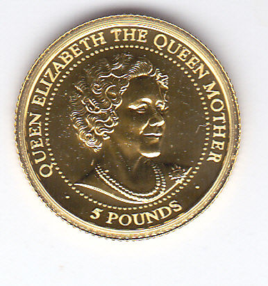 "Guernsey - 5 pounds 1999 ""Queen Elizabeth The Queen Mother"" - Gold"