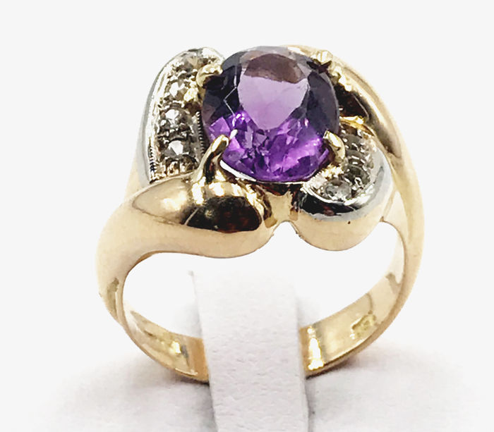 18 kt - Ring - 0.20 ct Diamant - Amethyst