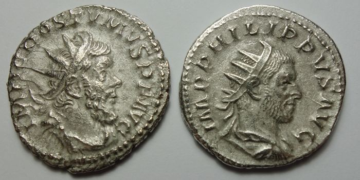 Roman Empire - Lot comprising Antoniniani: Philip I (AD 244-249) / Postumus (AD 260-269) - Silver