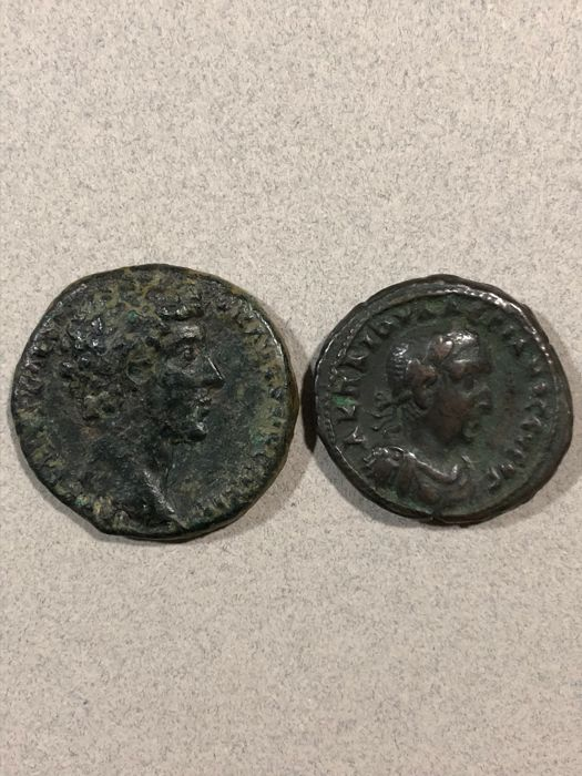 Roman Empire - Lot comprising 2 coins: Æ As, Marcus Aurelius (As Caesar, AD 139-161) / BI Tetradrachm, Valerian I (AD 253-260)