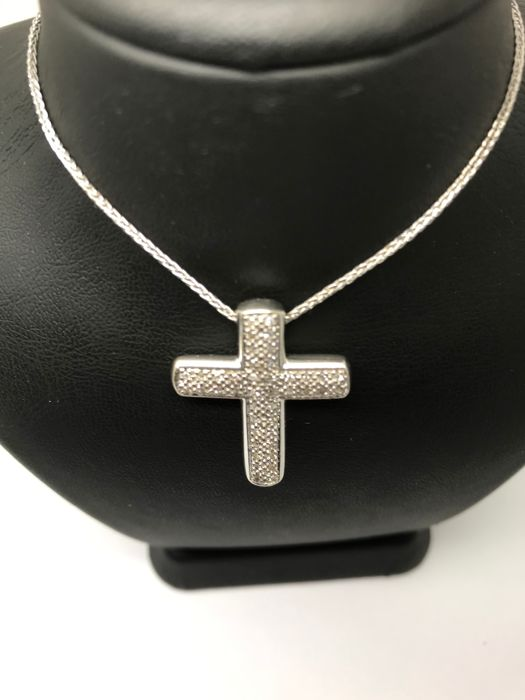 15 kt. White gold - Necklace, Necklace with pendant - 0.42 ct
