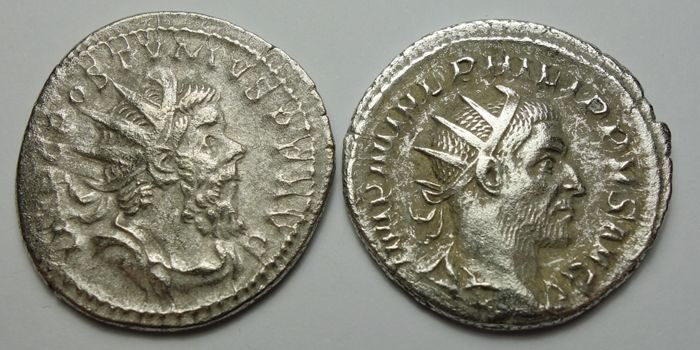 Roman Empire - Lot comprising 2 AR Antoniniani: Philip I (AD 244-249) / Postumus (AD 260-269)  - Silver