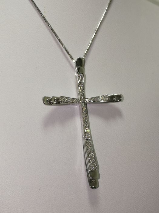 Gianni Pace Gioielli - 18 kt. White gold - Necklace with pendant - 0.70 ct Diamond
