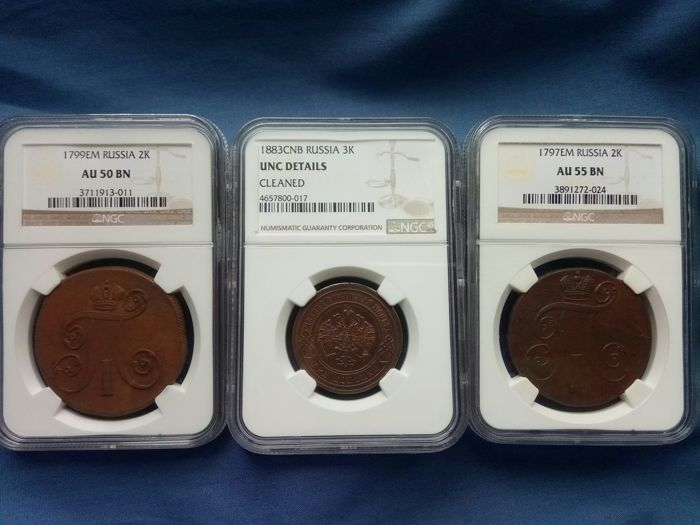 Russia - 2 Kopeks 1797-ЕМ and 1799-ЕМ + 3 Kopeks 1883-СПБ in NGC Slabs - Copper
